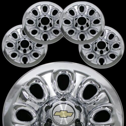 """Set of 4 Chevy 1500 6 Lug 17/"""" Chrome Wheel Skins Rim Simulators Hub Caps Covers"""