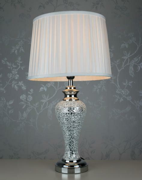 Cimc home silver sparkle mosaic regency table lamp with ivory shade large silver sparkle mosaic lamp pleated shade h 66 cm aloadofball Images