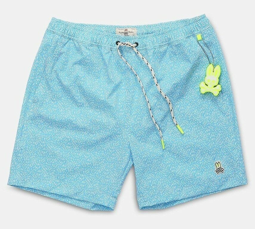 Psycho Bunny Men's Reef bluee Dot Print Swim Trunks