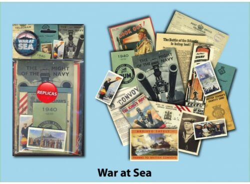 War at Sea Memorabilia Pack with over 20 pieces of Replica Artwork Navy
