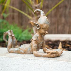 Reading-Pixie-Resin-Garden-Ornament-Outdoor-Indoor-Statue-Garden-Fairy-Sculpture
