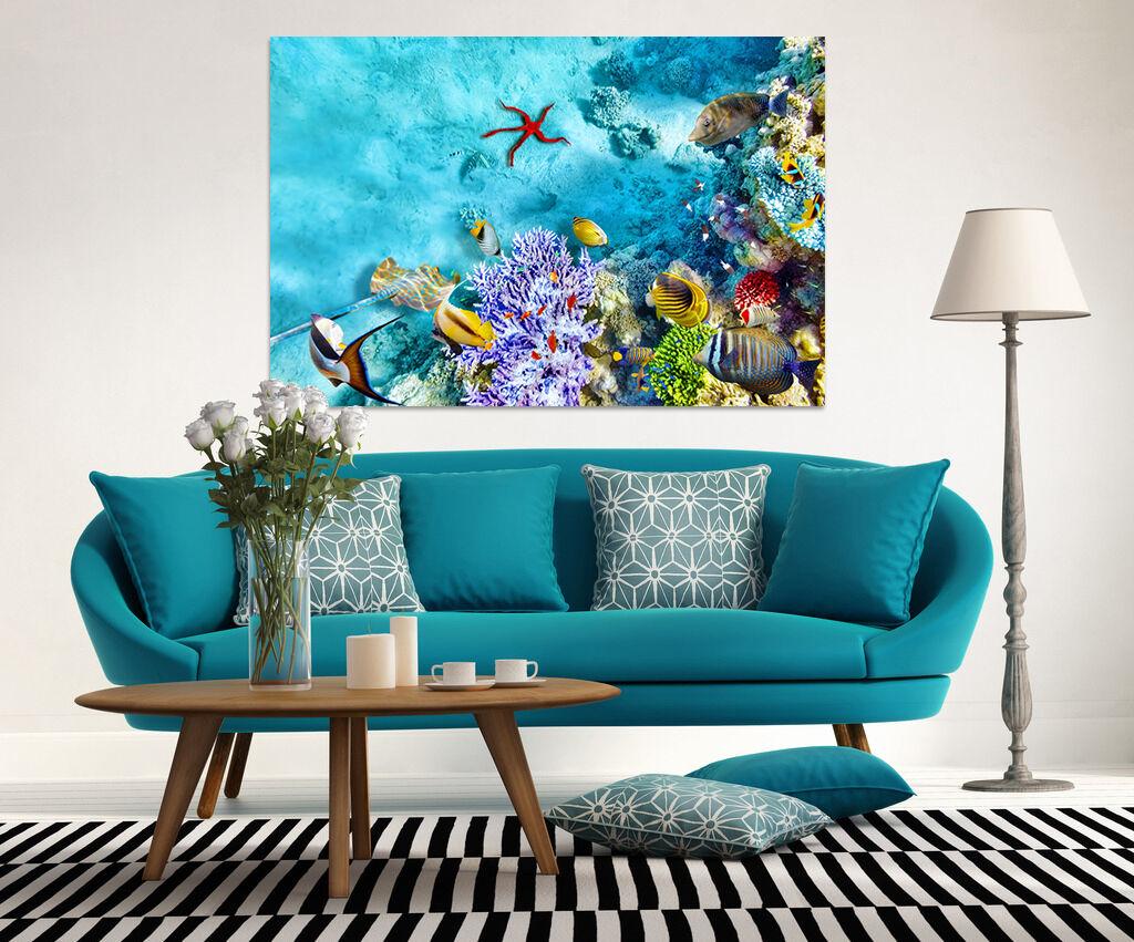 3D Blau Meeresgrund Fisch 786 Fototapeten Wandbild BildTapete AJSTORE DE Lemon