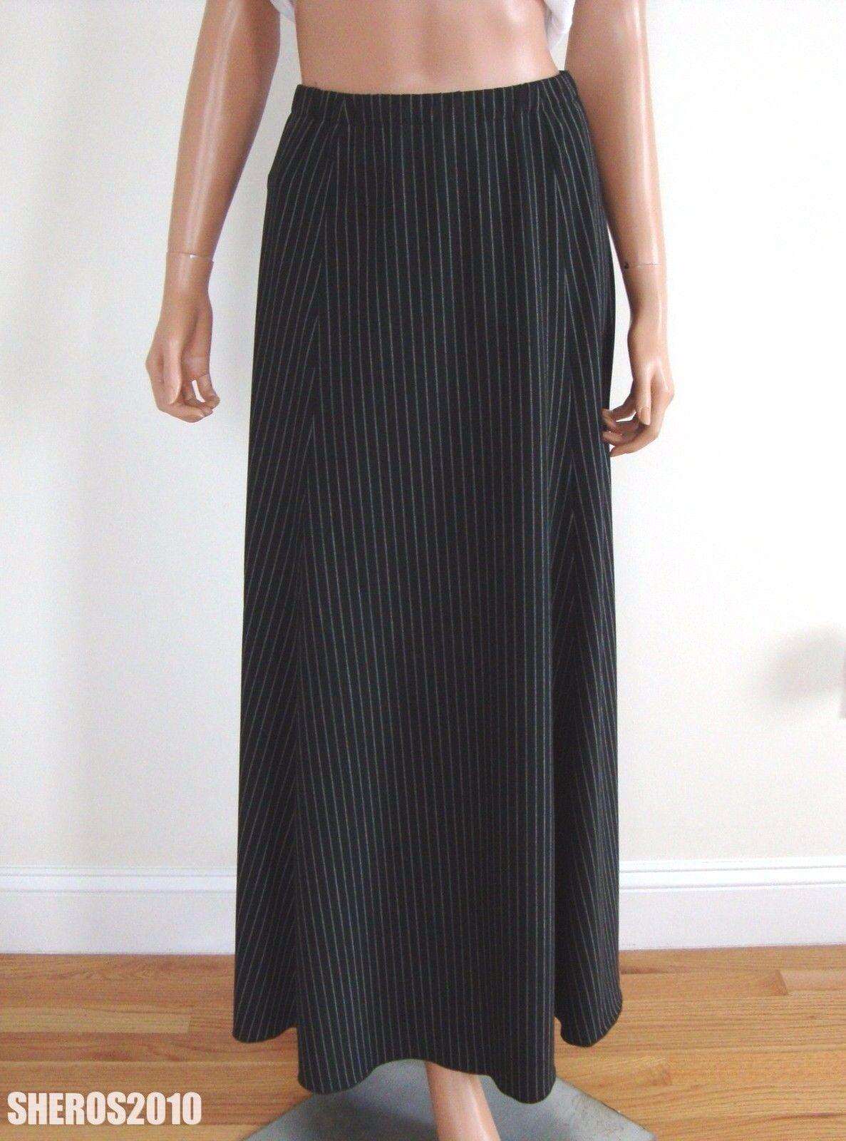 1450 Authentic Lgold PIANA WOOL Blend Striped Long MAXI Skirt IT-40 W-26-28