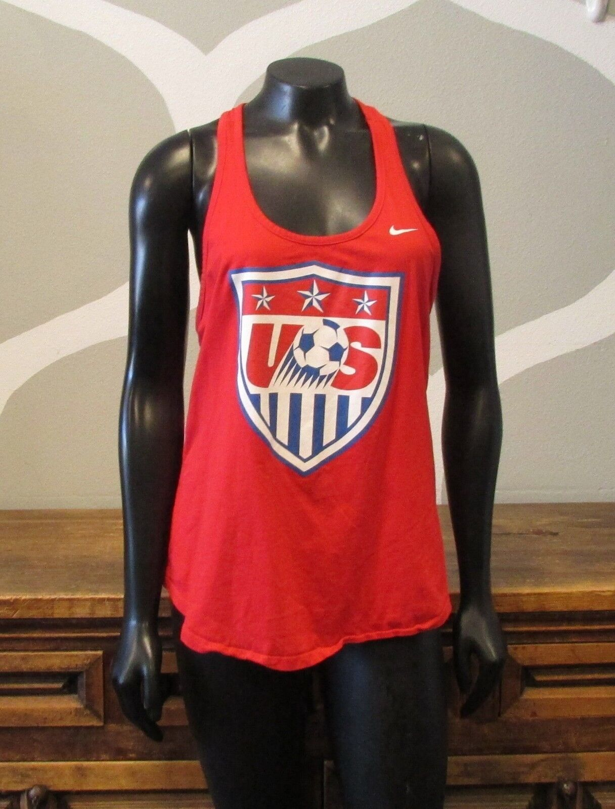 NIKE Red White Blue USA Soccer Racer Back Athletic Tank Top - Large