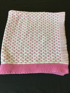 Pottery Barn Kids Baby Blanket Knit Pink White Security