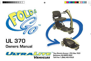 Details about OWNER'S MANUAL - Fold & Go 370 also sold as a Rascal on