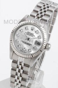d1ca3658e9d Chargement de l image en cours Rolex-Femmes-Datejust-Acier-Blanc-Mop-Cadran- Diamant-