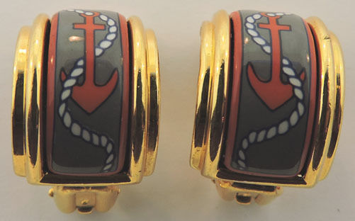 HERMES ENAMEL CLIP ON YELLOW gold PLATED RED ANCHOR DESIGN EARRINGS