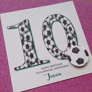 Image Is Loading Personalised Handmade BIRTHDAY Card FOOTBALL Grandson Son 6