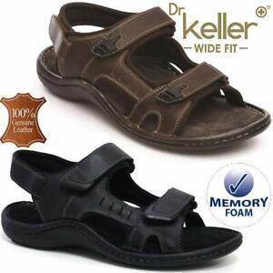 Mens-Leather-Summer-Sandals-Walking-Hiking-Trekking-Memory-Foam-Wide-Fit-Shoes