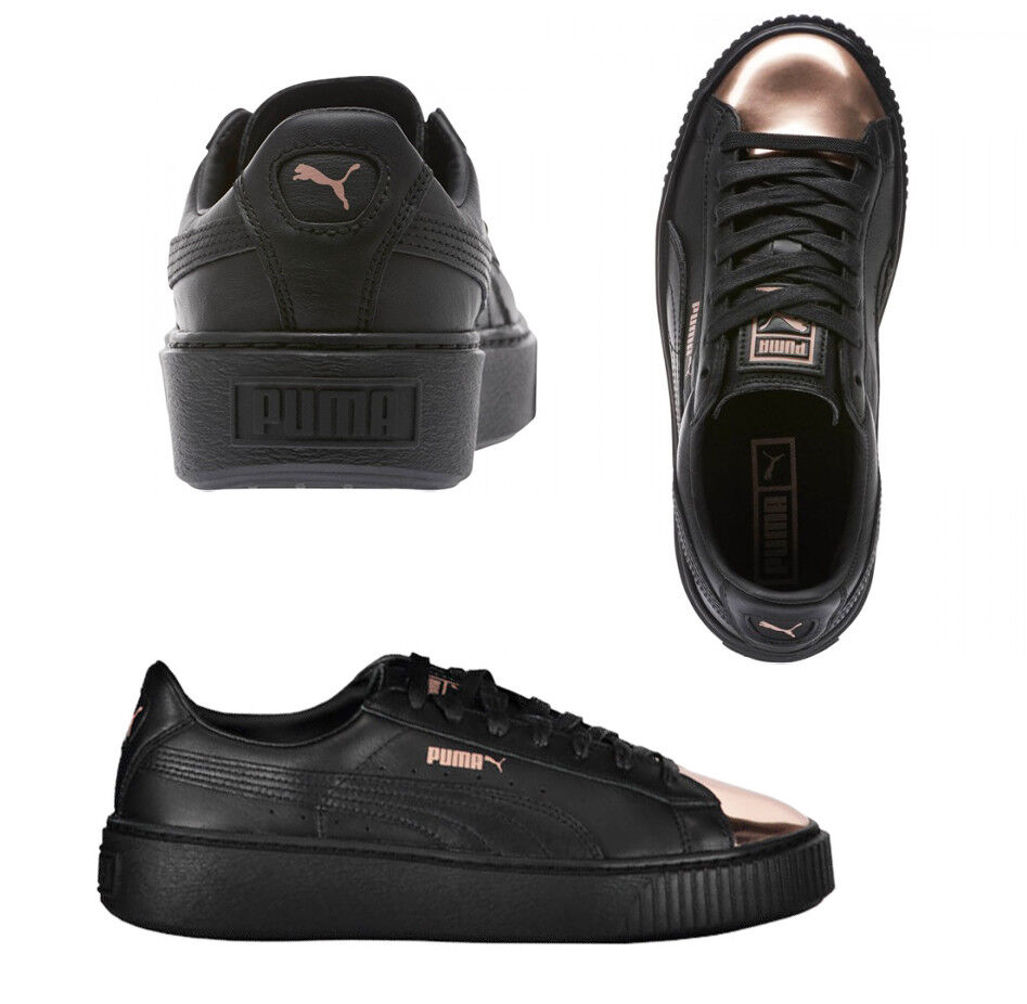 Puma Tennis Plateformes Métallique Lacet Cuir Noir Baskets pour Femme 36616902 The most popular shoes for men and women