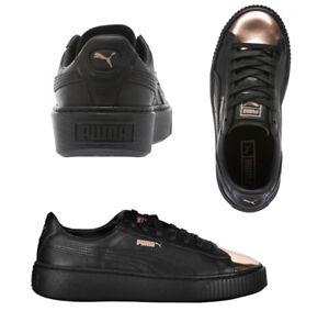 official photos 2e213 dd1df Details about Puma Basket Platform Metallic Lace Up Black Leather Womens  Trainers 36616902 D12