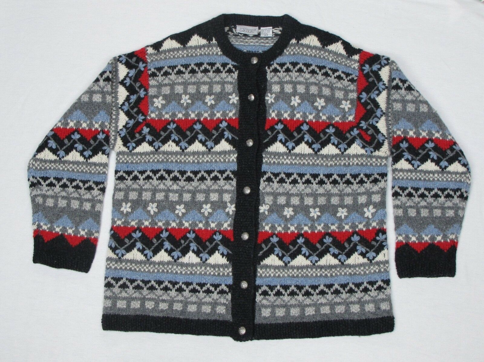 SKYR Winter Ski Sweater Nordic Cardigan 100% Wool Button Front Knitted Winter S