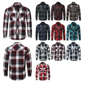 FashionOutfit-Men-039-s-Casual-Plaid-Flannel-Woven-Long-Sleeve-Button-Down-Shirt