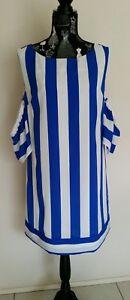 NEW-Blue-and-White-stripe-cold-shoulder-shift-dress-size-12-14
