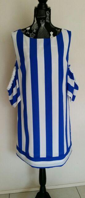NEW Blue and White stripe cold shoulder shift dress , size 12-14