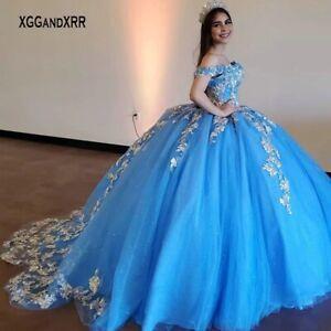 Princess Blue Quinceanera Dress Off Shoulder Sparkling Corset Puffy Sweet 15 16