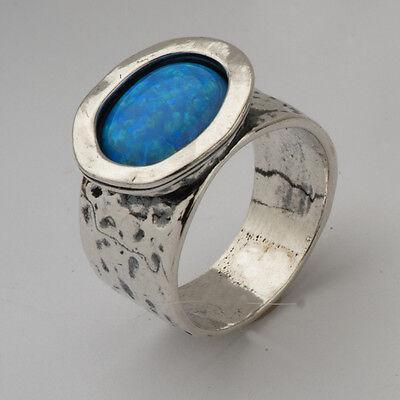 R00756OP SHABLOOL ISRAEL Didae Blue Opal Sterling Silver 925 Ring Sz. 6 7 8 9