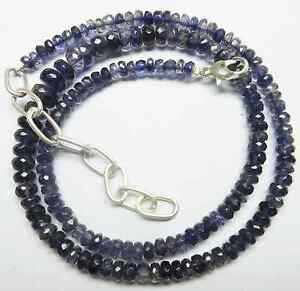 """86CT Natural Iolite Gemstone Roundel Faceted Beads 19.5"""" NECKLACE 7-4.5MM S92"""
