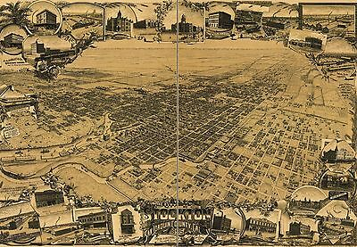 16x24 Bird/'s Eye View 1895 Stockton California Vintage Style City Map