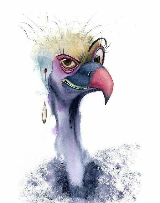 Olga Shefranov  Eyebrow Keilrahmen-Bild Leinwand Vögel Kopf lustig