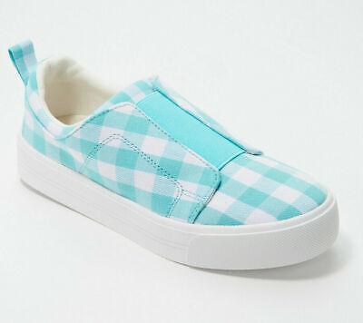 Gingham Printed Canvas Slip-On Sneakers