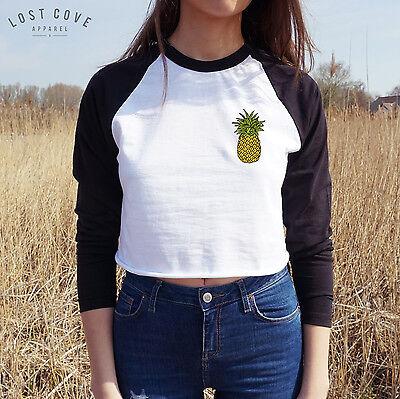 Pineapple Crop Raglan Tee T-shirt Top Long Sleeve Fruit Pocket Summer Tropical