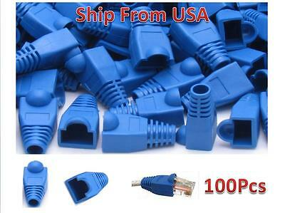 100Pcs RJ45 Network Cable Lead Connector Cover Cap Boot Cat 5 5e 6 Plug Head