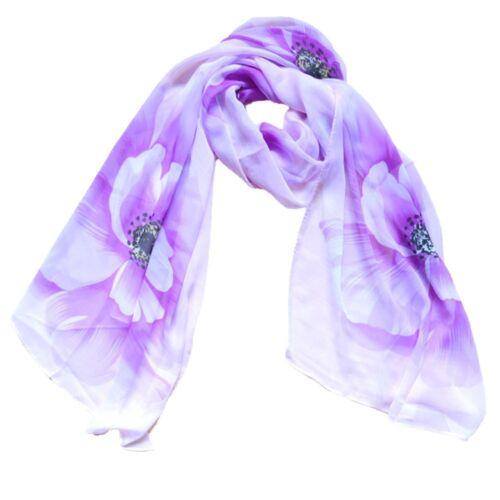 Noble Fashion Women/'s Floral Print Long Soft Wrap Lady Shawl Silk Chiffon Scarf