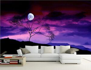 4a3ce2a7e009e Details zu 3D Lila Nachthimmel 5 Fototapeten Wandbild Fototapete Bild  Tapete Familie Kinder