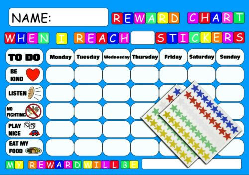REWARD CHART BEHAVIOUR  with FREE PEN AND STAR STICKERS MAGNETIC