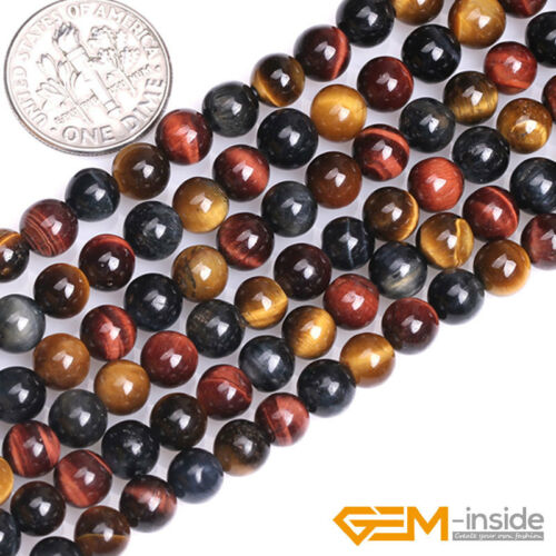 """Natural Multi-Color Tiger/'s Eye Gemstone Round Beads For Jewelry Making 15/"""" YB"""