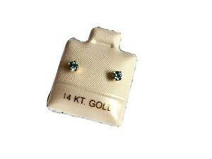 14-KT-Yellow-Gold-Blue-Zircon-Stud-Earrings-December-Birthstone-BRAND-NEW