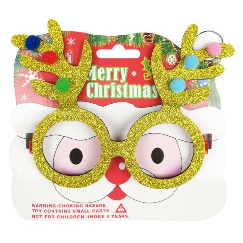 Gold Reindeer Xmas Christmas Glasses Frame Decoration Novelty Children Adult
