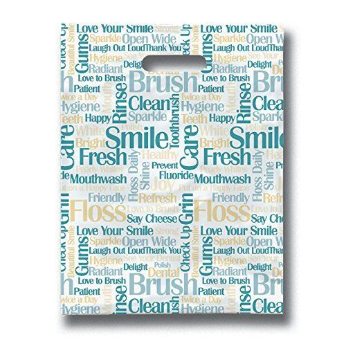 """Practicon 11096132 Tooth Talk Scatterprint Bags 8/"""" x 10/"""" TAXFREE Pack of 100"""