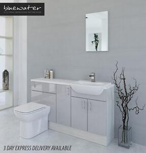 light grey white avola bathroom fitted furniture 1500mm ebay rh ebay co uk light grey bathroom accessories light grey bathroom floor tiles