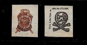 1765-Stamp-Act-Stamps-Reprints-On-Genuine-Original-Period-1760-Paper
