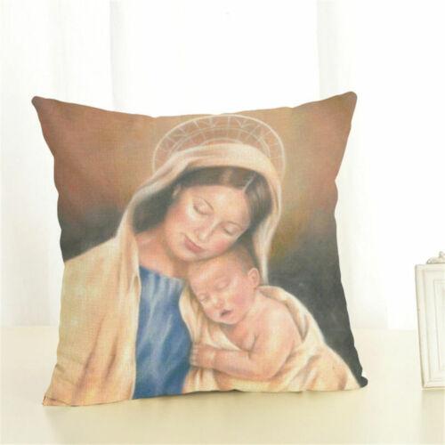 Madonna Maria Jesus Cotton Linen Christmas Pillow Case Decor Cushion Cover