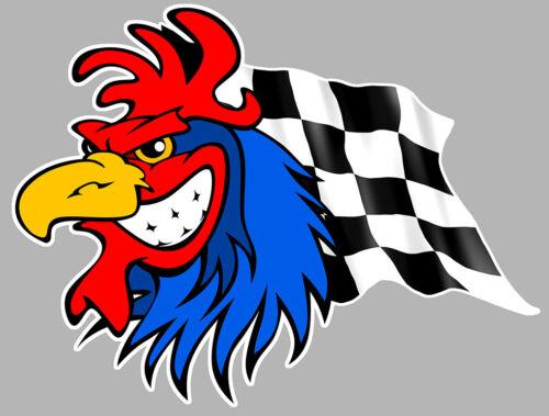 COQ SPORT DRAPEAU DAMIERS RACING FRANCE AUTOCOLLANT STICKER CA112