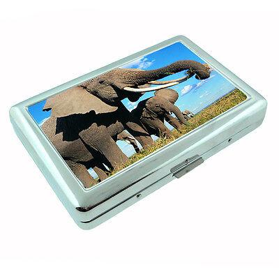 Metal Silver Cigarette Case Holder Box Elephant Design-007 Custom Wild Life