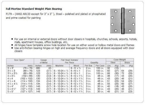 "SATIN CHROME PLATED STANLEY #F179-4/""x4/"" DOOR HINGE"