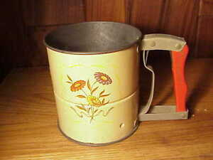 Vintage Androck Hand I Sift Flour Sifter Yellow Barrel W