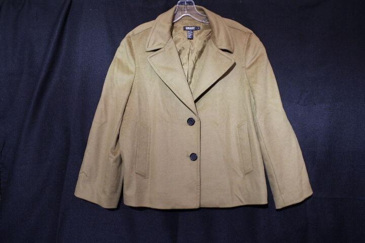 DKNY women KAREN Brown Wool Blend Blazer, Fully Lined, Womens Size 12-B19