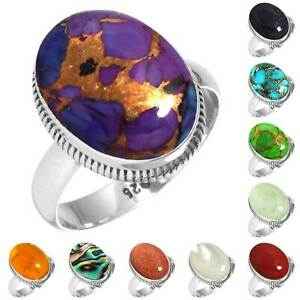 925-Sterling-Silver-Gemstone-Ring-Handmade-Jewelry-Size-5-6-7-8-9-10-11-12-bG728