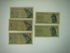 1964 (3) 1 SATU SEN & (2) 10 SEPULUH SEN INDONESIA UNCIRCULATED BANKNOTES