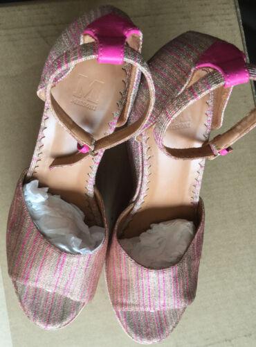 MISSONI Pink (shiny stripes) Woven Strapped Platfo