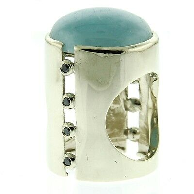 New 14k White Gold Black Diamond and Aquamarine Ring