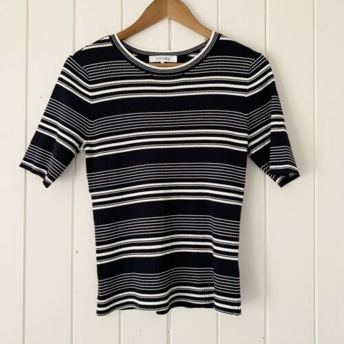 Frame Top Large Striped Ribbed Knit Navy White