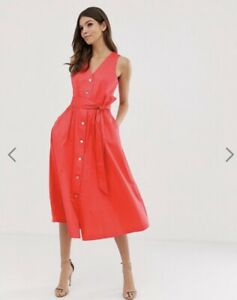 Ted-Baker-RYYLIE-Button-down-cotton-midi-dress-RRP-179-Size-4-UK-14-Red