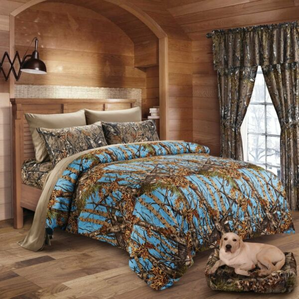 Rationeel 4pc Twin Powder Blue Camo Comforter With Natural Sheets Microfiber Hunter Woods